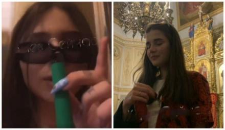 В Киеве, на Пасху девушки в Храме курили, пили и задували свечи. Видео